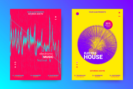 Dj Party Banner. Wave Electronic Music Poster. Vector Equalizer Concept with Amplitude of Lines. Promotion of Techno Sound Dj. Wave Flyer for Dance Event. Poster for Announcement of Dj Performance.