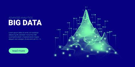Abstrakter Technologie-Hintergrund. Big-Data-Stream-Visualisierung. Landing Page mit Kryptographie-Design. 3D-Technologieplakat für die Präsentation von Wissenschaftsinnovationen. Konzept der Quantencomputertechnologie.