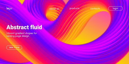 Colorful 3d Abstract Background. Landing Page Concept. Neon Fluid Shape Vector Composition. Glow Banner with Wave Gradient Shapes. 3d Poster for Website Design. Movement of 3d Abstract Liquid Forms.