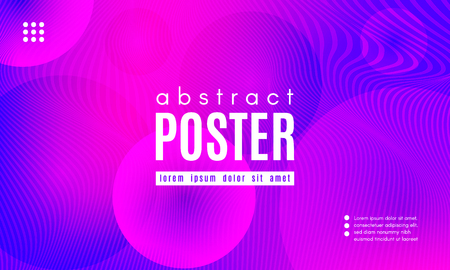 Abstract Background with Fluid Shapes. Wave Distorted Lines. Movement of Abstract Neon Liquid. Trendy Banner for Landing Page. Vector Abstract Background with Bright Vibrant Gradient and Wavy Liquid.