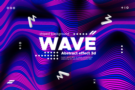 3d Abstract Linear Banner. Striped Ripple Background with Distortion and Movement Effect. Wave Template in Blue and Pink Colors. Flowing Shape Concept. Trendy 3d Poster for Your Creative Design.