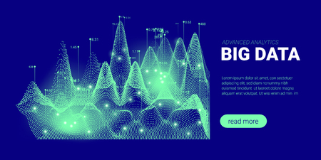 Abstract Technology Background. Big Data Stream Visualization. Landing Page with Cryptography Design. 3d Technology Poster for Science Innovation Presentation. Quantum Computing Technology Concept.