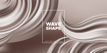 Abstract Chocolate Background, Fluid Shape. Brown Silk, 3d Waves in Movement. Melted Milk Chocolate Concept. Landing Page Template with Wavy Tasty 3D Forms in Cocoa or Coffee Colors. Smooth Chocolate.