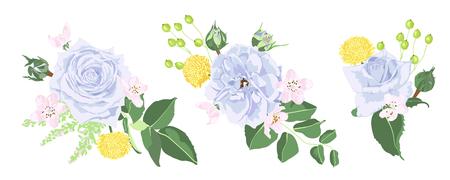 Vintage ramo de rosas, conjunto floral en estilo acuarela. Tarjeta de felicitación o diseño de invitación de boda. Ilustración vintage de flores de primavera para estampado de moda, guirnalda elegante. Plantilla de tarjeta vintage de vector.