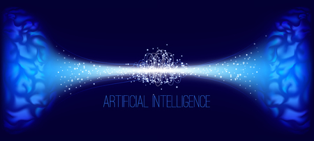 Artificial Intelligence (AI), Cyber Mind and Machine Learning. Big Data Analysis, Human Brain Study. Cyber Technology, Science Innovation. Neural Connect Concept. Virtual Mind, Artificial Intellect. Vektoros illusztráció