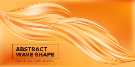 Abstract Fluid, Orange Liquid Shape Background. Brush or Ink Strokes Paint, Pastel Artwork. Movement of Wave Fluid with 3d Effect. Color Flow Poster or Wallpaper Template. Vector Gold Fluid Banner.