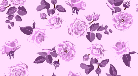 Rustic Rose, Seamless Floral Pattern in Watercolor Style. Hand Drawn Purple Roses with Petals for Wedding Decoration. Vintage Flowers Pattern, Elegant Wallpaper. Retro Rustic Roses or Peony Bouquet. Vettoriali