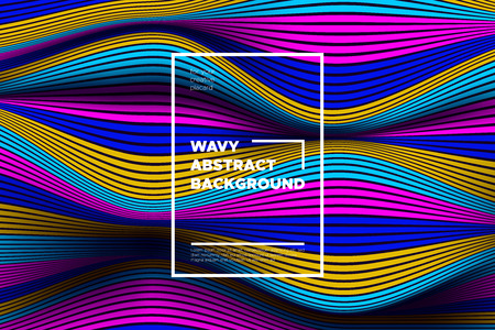 Modern Abstract Background with 3d Effect. Wave Texture with Colorful Distorted Lines. Creative Optical Illusion. Futuristic Style. Bright Abstract Background with Volumetric Striped Shapes. Eps10. Vecteurs
