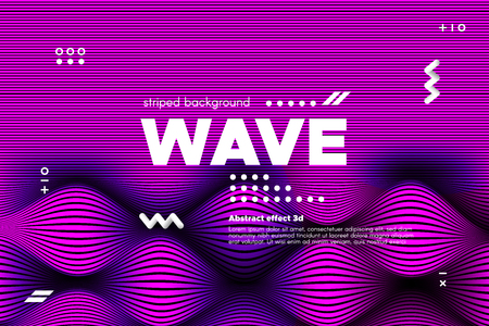 3d Poster with Wave Stripes. Flow Background with Distortion and Movement of Surface. Abstract Linear Banner with Ripple. Modern Striped Template in Magenta Colors for Business, Web Design, Flyer.