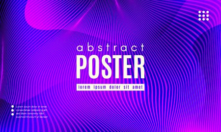 Wave Poster with Fluid Shapes. Gradient Abstract Background with Movement of Wave Liquid Forms. Linear Geometric Brochure in Trendy Ultraviolet Color. Purple Neon Concept with Abstract Waves. Illustration