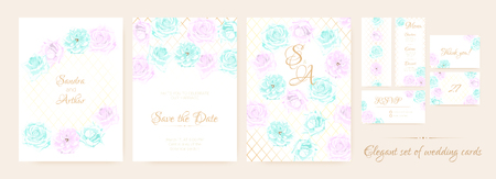 Vintage Wedding Invitation, Flowers Background, Roses Bouquet for Decoration. Greeting Card Template for Wedding Ceremony. Vector Floral Frame or Border. Delicate Wedding Invitation in Pastel Colors. Illustration