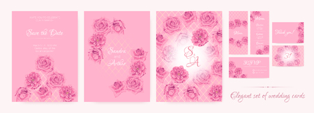 Wedding Save The Date, Thank You Cards, Pink Roses in Watercolor Style. Floral Decoration for Marriage Ceremony. Invitation Template Elegant Set. Flowers Frame, Luxury Wedding Thank You Cards Design.