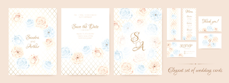 Wedding Invitation Collection in Pastel Colors Design. Vector Floral Background in Watercolor Style. Vintage Roses, Elegant Wedding Card Template. Wreath of Flowers Bouquet, Rustic Wedding Decoration. Illustration