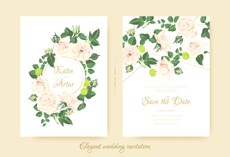 Wedding Invitation with Roses Bouquet, Cards Templates for Marriage. Vintage Flower Composition, Greeting Invite. Floral Set for Wedding Design. Pastel or Watercolor Style. Summer Romantic Wedding.