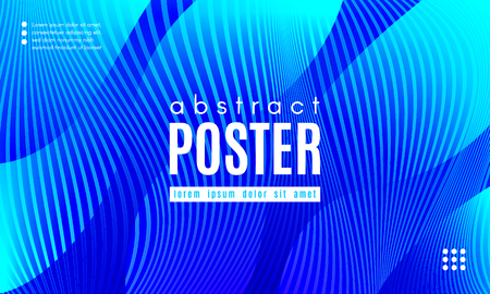 Blue Liquid Shapes. Abstract Poster with Distortion of Wave Stripes. Vector Gradient Background with Movement of Liquid. 3d and Light Effect. Minimal Template for Web Page. Blue Liquid Composition.