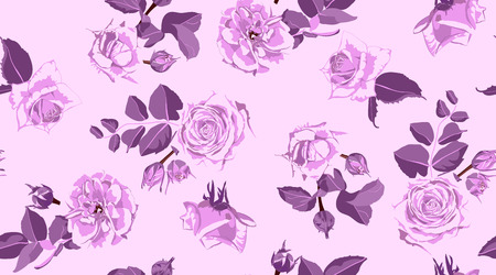 Rustic Rose, Seamless Floral Pattern in Watercolor Style. Hand Drawn Purple Roses with Petals for Wedding Decoration. Vintage Flowers Pattern, Elegant Wallpaper. Retro Rustic Roses or Peony Bouquet.