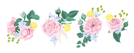 Watercolor Floral Set, Vector Roses. Wedding Card Design in Rustic Style. Vintage Floral Bouquet with Pink Roses, Green Leaves. Set of Elegant Summer Flowers for Greeting. Wreath of Floral Elements.