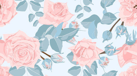 Pastel Floral Pattern, Vintage Pink Roses in Watercolor Style. Wedding Print, Retro Flowers Background, Rustic Design. Floral Seamless Pattern in Pastel Colors. Feminine Floral Fashion Illustration.