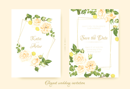 Wedding Cards, Vintage Roses, Floral Bouquet. Elegant Vector Flower in Pastel Colors for Greeting Card Design. Drawing Watercolor Botanical Decoration. Romantic Flyer for Wedding Celebration Invite. Ilustração