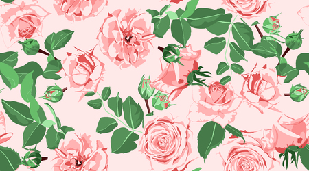 Wedding Pattern, Roses, Floral Background. Vintage Watercolor Flowers for Rustic Wedding Decoration. Seamless Elegant Retro Pattern with Green Leaves for Fashion Textile, Wedding Fabric, Art Print. Ilustrace