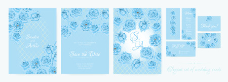 Thank You Cards Design, Blue Roses, Wedding Flowers Invitation Collection. Floral Decorative Border, Vector Spring Background in Pastel Colors. Delicate Vintage Bouquet, Thank You, RSVP, Menu, Invite. Reklamní fotografie - 125334579