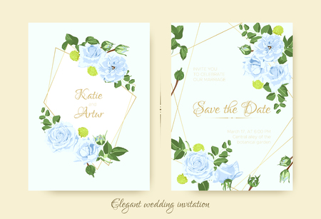 Vintage Wedding Card Template, Rose Bouquet. Elegant Ceremony Invitation Design, Spring Floral Decoration. Vintage Flyer with Leaf Border or Frame. Blue Flowers, Green Leaves, Vintage Romantic Poster. Ilustrace