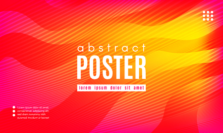 Abstract Geometric Background. Fluid Shapes Composition. Wave Liquid with Distorted Lines. Striped Geometric Poster in Red, Yellow and Orange Colors Design. Landing Page Concept with Vibrant Gradient. Ilustração
