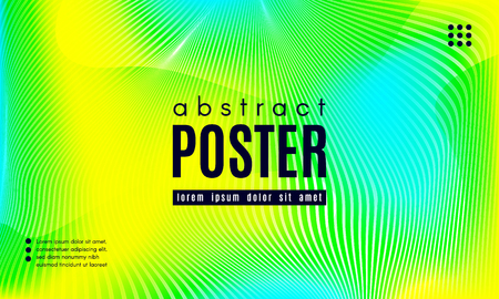 Wave Poster with Fluid Shapes. Gradient Abstract Background with Movement of Wave Liquid Forms. Linear Geometric Brochure in Yellow, Turquoise and Green Colors. Fresh Neon Concept with Abstract Waves. Illustration