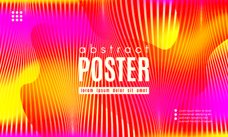 Fluid Shapes Abstract Composition. Gradient Background with Wave Lines. Trendy Web Page Template with Fluid Forms Concept. Poster with Distorted Stripes and 3d Effect. Vector Geometric Template. Ilustração
