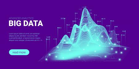 Quantum Computing, Big Data Visualization. Landing Page Futuristic Concept. 3d Technology Background. Quantum Cryptography Visual Presentation. Information Sorting, Security Code Design. Vector Illustration