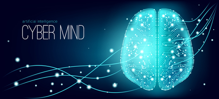 Big Data, Cyber Brain Concept with Information Connection. Artificial Intelligence (AI), Digital Technology and Virtual Reality. Machine Learning for Analysis of Big Data. Cyber Mind with Data Stream. 일러스트