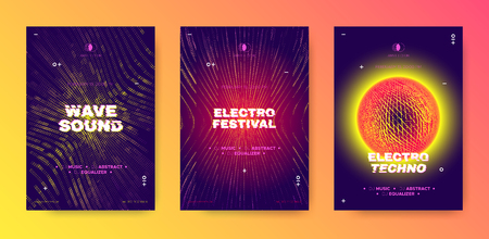 Abstract Music Poster, Electronic Party Flyer, Wave Line. Illusion Effect and Movement of Dotted Striped Grid. Night Club Posters Design, Techno Festival Promotion. Futuristic Flyer or Poster Concept. Illustration