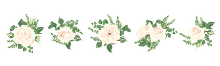 Watercolor Flowers Bouquet, Floral Wedding Collection. Vintage Vector Roses and Decorative Rustic Elements in Pastel Color Design. Spring Flower Illustration for Card and Invite. Isolated Wreath Set.