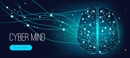 Cyber Mind, Artificial Intelligence Concept. Brain Analysis, Neural Connection Visualization. Futuristic Cyber Technology Innovation, Machine Learning. Big Data Stream between Parts of Cyber Brain. 일러스트