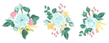 Blue Roses Bouquet Collection, Rustic Wedding Design. Vintage Floral Illustration for Elegant Decoration. Vector Spring Flowers Bouquet, Watercolor Roses. Retro Wreath of Roses and Wedding Elements. Ilustração