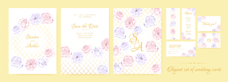 Wedding Invitation Collection in Pastel Colors Design. Vector Floral Background in Watercolor Style. Vintage Roses, Elegant Wedding Card Template. Wreath of Flowers Bouquet, Rustic Wedding Decoration. Ilustração