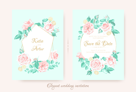 Vintage Wedding Invite, Roses in Pastel Colors. Flowers Bouquet Drawing in Watercolor Style. Wedding Card Design, Announcement of Engagement. Floral Decorative Border or Frame, Rustic Wedding. Ilustração