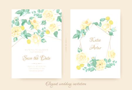 Invito a nozze con bouquet floreale in colori pastello. Fiori vintage per la progettazione di biglietti di auguri, annuncio della celebrazione del matrimonio. Illustrazione di rose romantiche con foglie di vettore per invito.