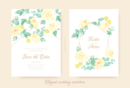 Wedding Invitation with Floral Bouquet in Pastel Colors. Vintage Flowers for Greeting Card Design, Announcement of Wedding Celebration. Romantic Roses illustration with Vector Leaves for Invitation.