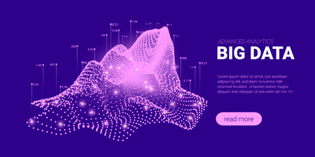 Quantum Cryptography Concept. Big Data Sorting. Futuristic Technology Background. Signal Cryptography Infographic Illustration. Landing Page Design with Science Innovation, Artificial Intelligence.
