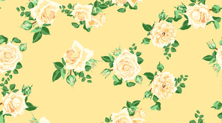 Vintage Floral Pattern, Rose Flowers for Wedding Design. Hand Drawn Watercolor Bouquet, Vector Floral Print in Yellow Pastel Color for Invite, Card. Spring Peony with Leaf. Rustic Floral Illustration. Ilustrace