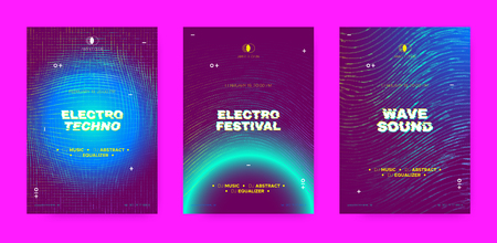 Electronic Sound Concept, Music Posters. Wave Dotted Distorted Lines, Neon Round. Abstract Futuristic Banner with Electronic Party Visualization. 3d Circle and Effect of Movement, Electronic Festival.