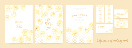 Wedding Cards Watercolor Set. Rose Flowers in Pastel Colors Design. Vector Floral Decorative Border, Wedding Frame of Rose Bouquet. Elegant Banner for Marriage, Romantic Rustic Wedding Invitation. Ilustrace