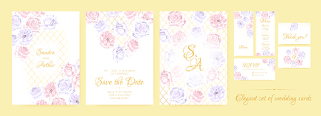 Wedding Invitation Collection in Pastel Colors Design. Vector Floral Background in Watercolor Style. Vintage Roses, Elegant Wedding Card Template. Wreath of Flowers Bouquet, Rustic Wedding Decoration. 일러스트