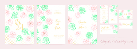 Delicate Wedding Invite Collection with Vintage Roses in Pastel Color Design. Decorative Floral Border, Watercolor Invite Set, Rustic Bouquet for Engagement. Wedding Cards or Elegant Romantic Invite.