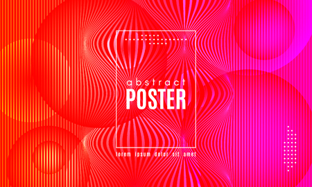 Abstract Background with Gradient Fluid Shapes. Movement of Neon Liquid. Wave Distorted Abstract Stripes. Trendy Linear Banner for Landing Page. Abstract Background with Vibrant Gradient and Red Waves