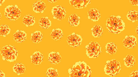 Orange Flowers, Seamless Pattern. Roses or Peony. Vintage Floral Background for Textile Print. Yellow Flowers Hand Drawn in Watercolor Style. Elegant Feminine Texture for Fabric. Flowers Illustration. Ilustrace