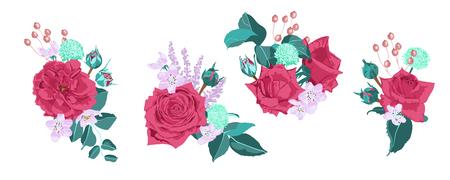 Vintage Roses, Seamless Wedding Pattern. Vector Pink Flower, Green Leaf. Elegant Vintage Card or Invite Design. Set of Peony Spring Bouquet, Summer Floral Illustration. Watercolor Vintage Drawn Style. Ilustrace