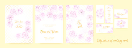 Wedding Invite, Thank You Cards, Border of Vintage Roses. Floral Frame, Decorative Elements. Vector Vintage Flowers in Watercolor Style. Save the Date Collection, Greeting Card, Menu, Rsvp, Thank You.