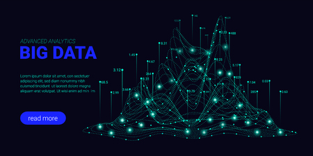 Big Data Analytics, Artificial Intelligence Concept. Technology Landing Page Template. Business Analytics Presentation, Quantum Computing. Signal Cryptography Infographic Illustrations. Energy Stream.